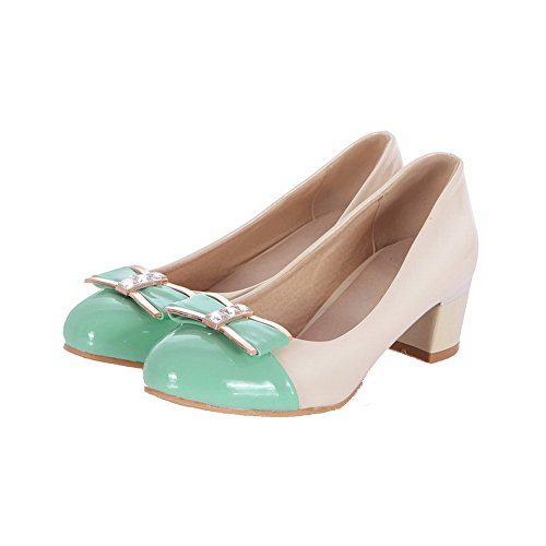 AllhqFashion Womens Assorted Color Patent Leather Kitten Heels Round Closed Toe Pumps-Shoes Green 23nYv