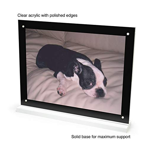 (Premium Acrylic Sign Holder 8.5 x 11 Horizontal Display Stand - Thick Polished Base with Crystal Clear Magnetic Frame for Eye-catching Marketing, Art and Photo Table Display )