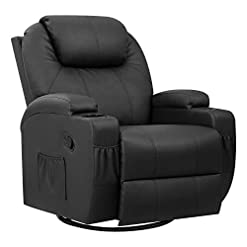 Living Room Pawnova PU Leather Chair with Massage Function, Adjustable Home Theater Single Recliner Thick Seat and Backrest, 360…