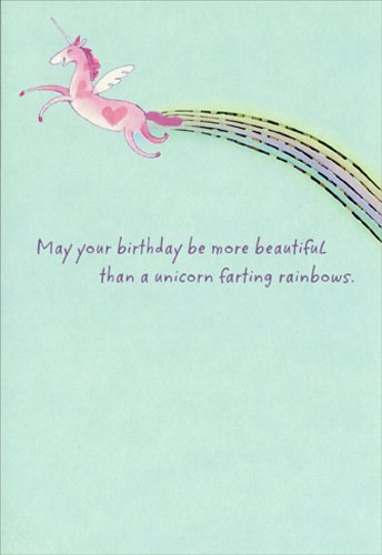 Unicorn and Rainbow - Sunrise Greetings Funny Birthday -