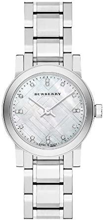 dda68006ec81 Image Unavailable. Image not available for. Color  Burberry Mother of Pear  diamond set Stainless Steel Ladies Watch BU9224