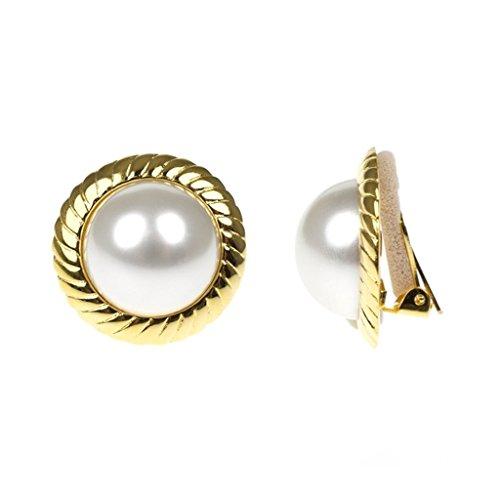 Pearl Earrings as Worn by Barbara Bush Earring Clips Ons Framed Kenneth Jay Lane