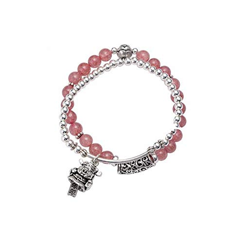 Sterling Annual - SHOUSHI Women's Natural 925 Silver Animal/Zodiac Crystal Bracelet S925 Sterling Silver Double Strawberry Crystal Bracelet Female Pink Crystal Lucky Cat Annual Good Luck Jewelry Vintage, 925 Silver
