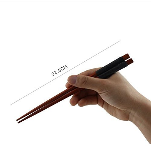 MTSZZF 1 Pairs Japanese Natural Iron Wood Chopsticks Value Pack Cooking Tableware Theaceae Black