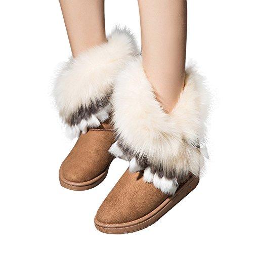 Mode Damen Stiefeletten Stiefel Winter Schuhe warm gefüttert Kaninchen Schnee Boot Rosa Schwarz Gelb