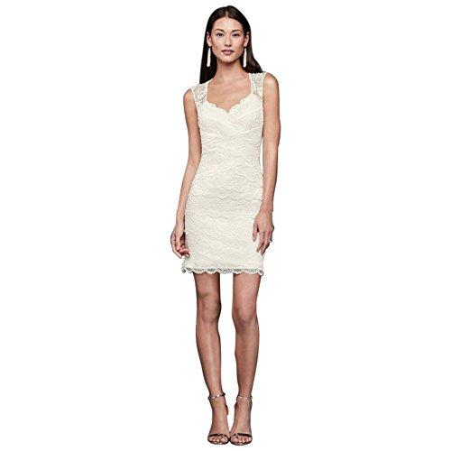 - David's Bridal Layered Lace Short Dress with Keyhole Back Style 182448, Ivory, 4