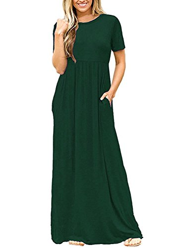 DEARCASE Women's Short Sleeve Long Maxi Fall Casual Dresses Dark Green XX-Large