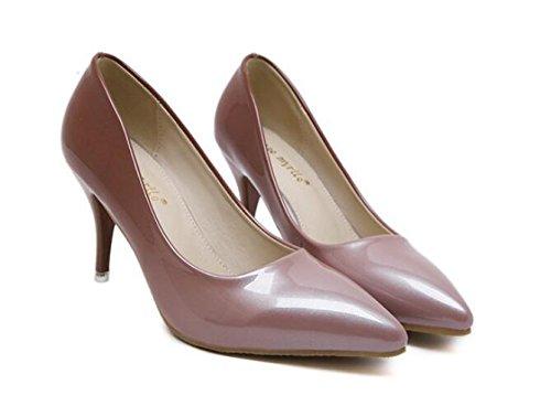 LDMB Pointure Toe Court Chaussures Gradient Couleur Peau Mince Avec Talons Basse Pour Aider Simple Chaussures , apricot , 38