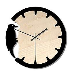 RXM Woodpecker Wall Clock Mute Non-Ticking Battery Quartz Movement Decoration Bedroom Living Room Children (11 Inches, Wooden)