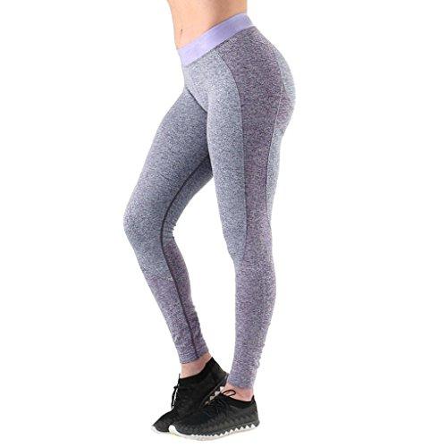 Damen 3/4 Yoga Leggings Hose , Yogogo Hohe Taille Pants | Trainingshose Hosen | Print Bleistifthosen Leggings | Sport Fitness Workout Leggins | Elastische Dünne Hosen | Sporthose Lila