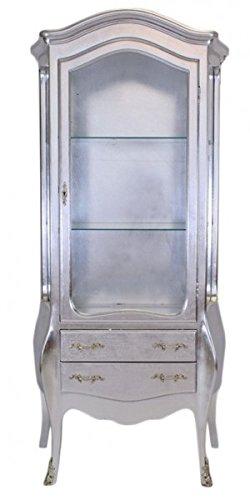 Casa Padrino Barock Vitrine Silber / Silber - Glas Vitrine Möbel Schrank