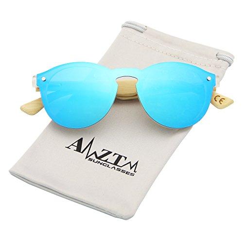 AMZTM Trend Fashion Design Eyewear Frames Bamboo Wooden Driving Glasses One Piece Shades Flash Mirrored Reflective REVO Women Sunglasess (Blue, - Trend Reflective Sunglasses