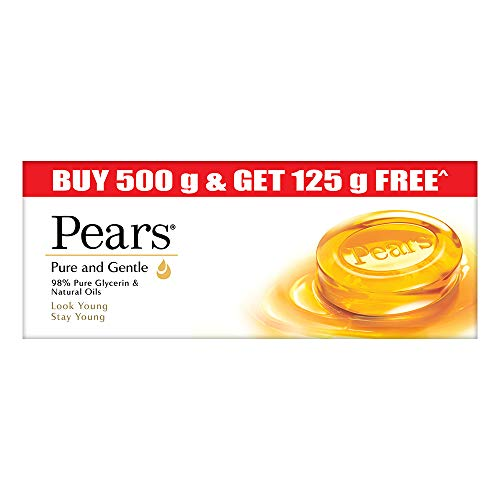 Pears Pure & Gentle Moisturising Bathing Bar Soap with Glycerine For Golden Glow 125g (Pack of 5)