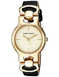 Anne Klein Women's AK/2630CHBK Strap Watch, Gold-Tone and Black Leather