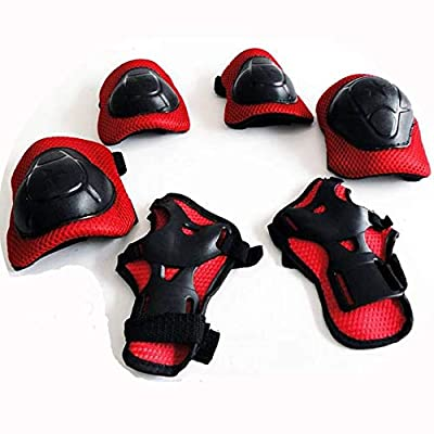 MIJIA Kids Outdoor Sports Protective Gear, Boys and Girls Safety Pads Set [Helmet, Knee&Elbow Pads and Wrist Guards] for Roller, Scooter, Skateboard, Bicycle(4-14 Years Old) (red) : Sports & Outdoors
