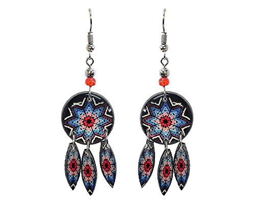 Southwest Round Earrings with Dangles (Tribal-Flower/Red/Light-Blue)
