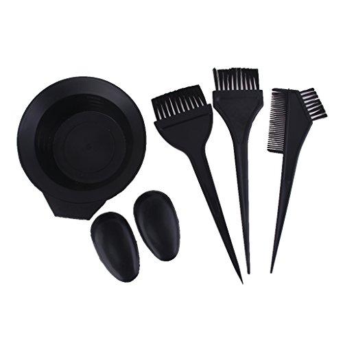 Salon Haarfarbe Farbstoff Schüssel Kamm Bürste Friseur Tönung Werkzeug Set - Schwarz
