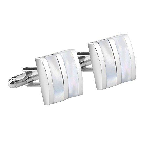 INSTEN Cufflink, Silver/White Jade Camber