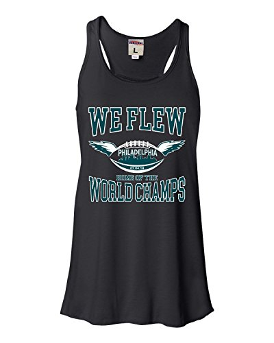 Large Black Womens We Flew Philadelphia World Champs Football Flowy Racerback Tank Top T-Shirt