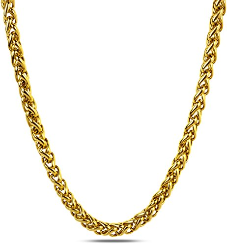 18k Gold Plated Wheat Weave Rope Chain Necklace