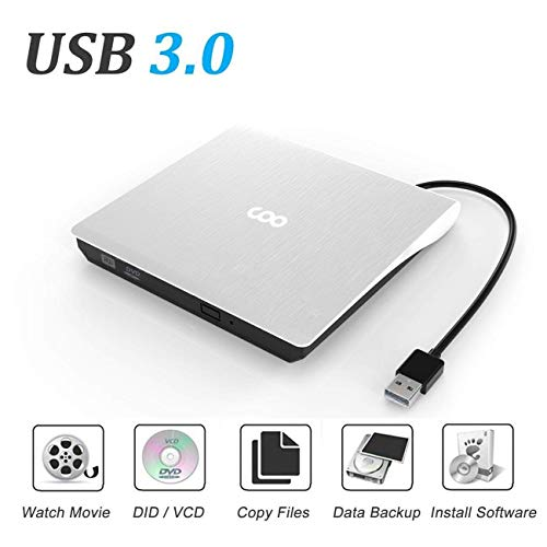 - External CD/DVD Drive USB 3.0 Portable R/W Optical Drive High Speed Data Transfer Slim CD DVD Burner Recorder CD ROM for Laptop/MacBook/Desktop/MacOS/Windows10/8/7 (White)