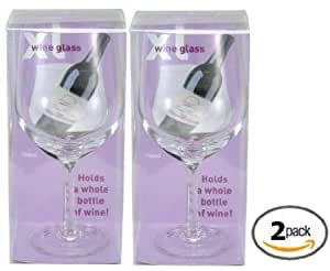 Pair of Extra-large XL Wine Glasses (2) - Each Holds a Full Bottle of Wine
