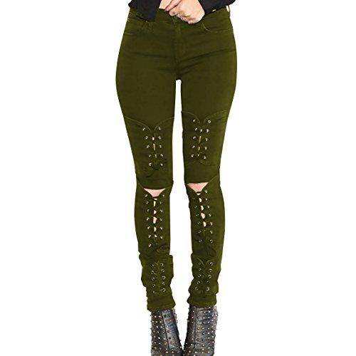Luogo bendaggio Jeans Elastico Tagliare Alto Dachui Puro Colore 204 Fashion Di Donne Pantaloni Micro Green Army FwqwaxRtX