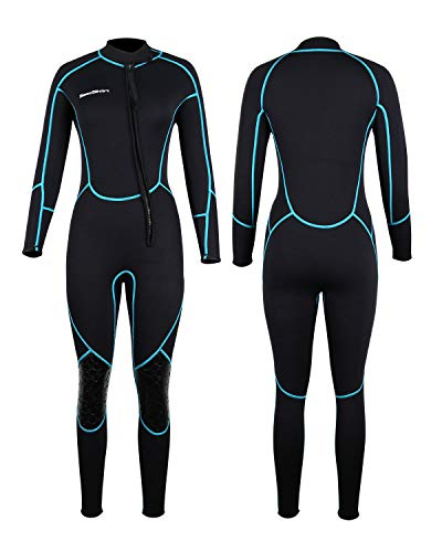 Mens 3mm Shorty Wetsuit Womens, Full Body Diving Suit Front Zip Wetsuit for Diving Snorkeling Surfing Swimming