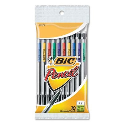 Mechanical Pencils, Mini, 0.7mm w/ 3 Leads, 10 per Pack, Assorted [Set of 2]