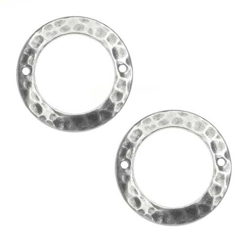 Beadaholique Antiqued Silver Plated Hammered Ring Circle 2-Hole Link 19mm (2)