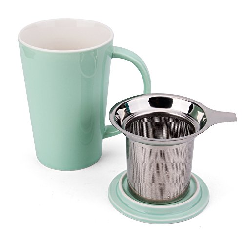 Teapot Green Lid (Enindel Fashion Simple Style Tea Mug with Infuser and Lid 14 OZ (Mint Green set of 1))