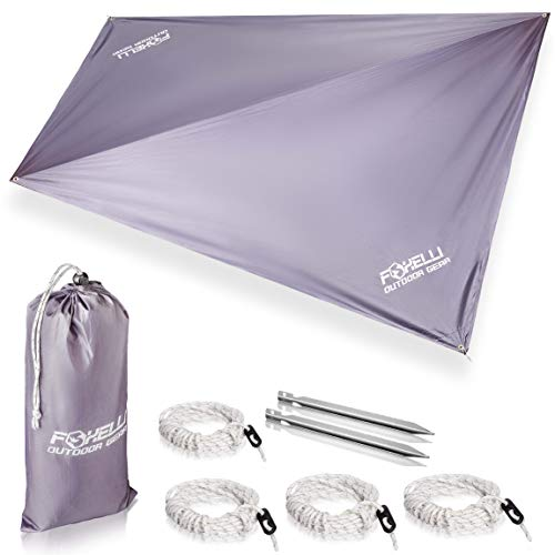 Foxelli Rain Tarp - Lightweight, Portable, Waterproof 12' Camping Tarp, Easy Set Up with Included Extra Long Guy Lines & Stakes - Perfect Rain Fly for Hammock