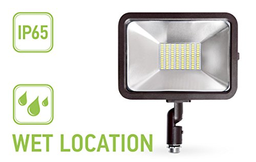 ASD LED Flood Light 50W with Knuckle Mount Commercial Grade Super Slim Compact SMD Outdoor Led Light Landscape Security Waterproof 4000K (Bright Light) UL Listed DLC Certified