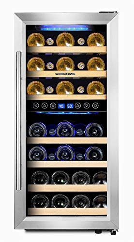 Compressor Cooling (Phiestina PH-CWR100SP 33 Bottle Wine Cooler Dual Zone Compressor Cooling   Stainless Steel & Glass Door with Handle)