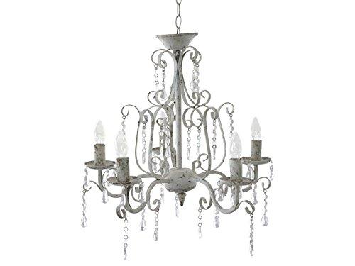 Shabby Chic estilo francés lámpara de araña 5 brazos lámpara ...