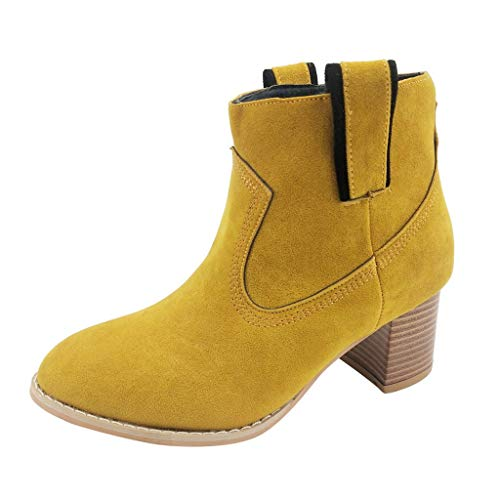 NEARTIME Women's Leisure Shoes, Ladies Rome Solid Color Plus Size Chunky Shoes Flock Slip-On Square Heels Short Boots ()