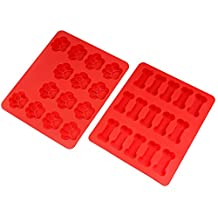 Nuovoware Baking Molds, [2PCS] Food Grade Soft Silicone Non-Stick Heat Resistant Dog Paws & Bones Shaped Cake Chocolate Candy Muffin Pudding Pastry Mold Tray, Soap Mold, Ice Cube Mold, Red