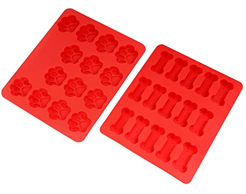(Nuovoware Baking Molds, [2PCS] Food Grade Soft Silicone Non-Stick Heat Resistant Dog Paws & Bones Shaped Cake Chocolate Candy Muffin Pudding Pastry Mold Tray, Soap Mold, Ice Cube Mold, Red )