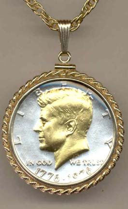 Bicentennial Kennedy Half Dollar (1976) Two Tone Rope Bezel U.S. Coin Pendant with 24