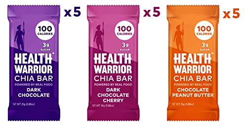 Health Warrior Chia Bars, Chocolate Variety Pack, Gluten Free, Vegan, 25g Bars, 15 Count ()