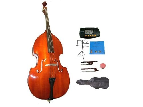 GRACE 4/4 Size Student Natural Upright Double Bass with Bag,Bow,Bridge+2 Sets Strings+Rosin+Music Stand+Metro Tuner by Grace