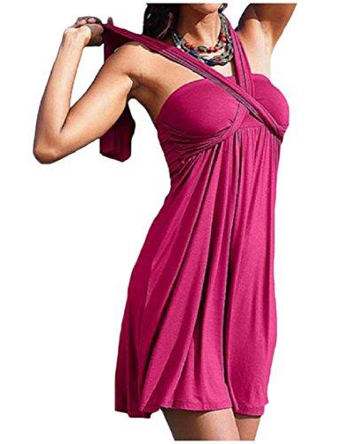 Coolred-femmes Tube De Style De Base Moulantes Solide Mince Robe Courte Plage Rose Rouge