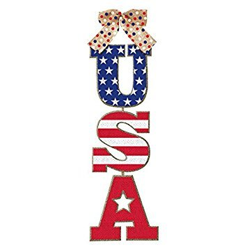 Burlap American Flag USA Stacked Sign, 18