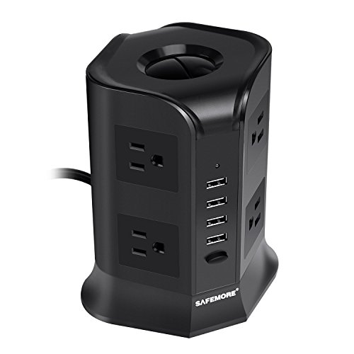 Safemore Power Strip Surge Protector Smart 8-Outlet with 4-USB Ports Socket Black