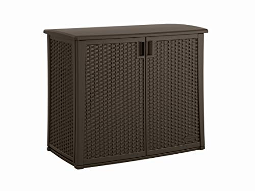 Suncast Elements Outdoor Wide Cabinet  40quot Wide Resin Constructed Patio Furniture Ideal for Decks and Balconies  Contemporary Wicker Design for Outdoor Storage with 97 Gallon Capacity  Brown