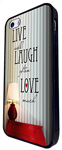 738 - Shabby Chic Live Well Laugh Often Love Much Design iphone SE - 2016 Coque Fashion Trend Case Coque Protection Cover plastique et métal - Noir