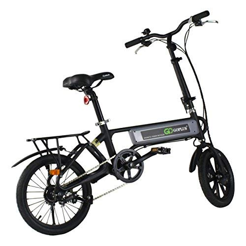 Goplus Folding Electric Bicycle Lightweight Portable Sport Bike Lithium Battery W/Two Speed Electronic Transmission System (120W)