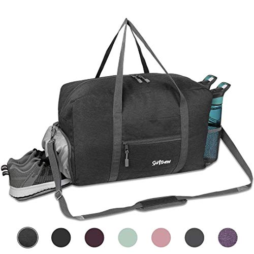 Sports Gym Bag with Wet Pocket & Shoes Compartment, Travel Duffel Bag for Men and Women Lightweight, Dark Gray
