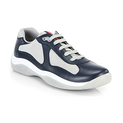 (Prada Leather America's Cup Mesh Navy Trainers 9.5)