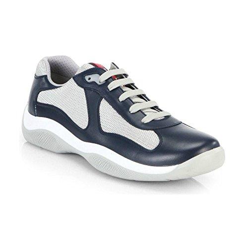 Prada Leder Americas Cup Mesh Sneaker, blau (Navy) Dunkelblau